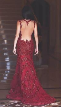 2019 Gorgeous Beading Mermaid Long Prom Dresses Sexy Red V-Neck Backless Prom Gowns Sequined Appliques Evening Party Dresses 2