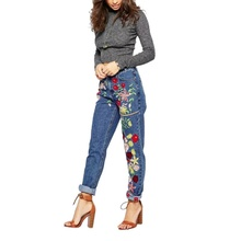 Summer Women Mid Waist Embroidered Jeans Lady Cotton Flower Straight Loose Denim Pants