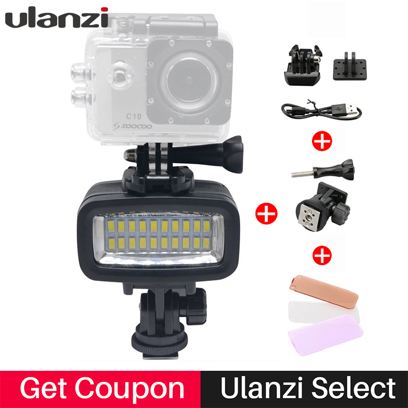 Ulanzi 30M Waterproof Underwater LED Video Light Super Bright Diving Fill Lamp Suitable for GOPRO SJCAM Action Camera