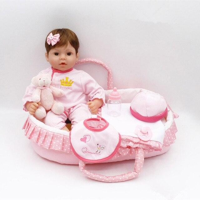 83e4ac3ce52f1 Renew 40 cm barato Bebe Reborn silicona vinilo realista Reborn muñeca hecha  a mano bebé muñeca
