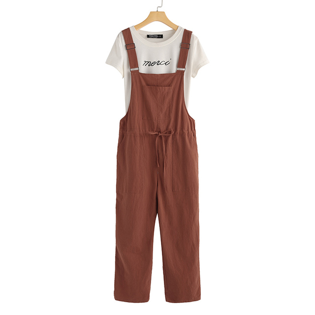 ZANZEA Women Jumpsuits Summer Dungarees Bib Overalls Casual Straps Cotton Linen Rompers Solid Loose Playsuits Suspenders S-5XL 5