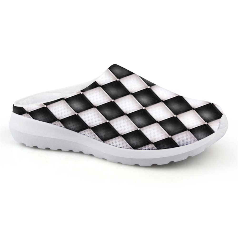 Noisydesigns Man House Slippers Black White Checkered Print Male Mesh - Men's Shoes - Photo 1