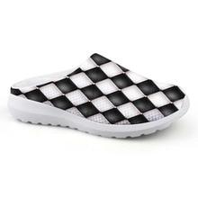 Noisydesigns 남자 집 슬리퍼 블랙 화이트 체크 무늬 프린트 남성 메쉬 플랫 로퍼 여름 비치 워터 신발 소년 드롭 배송