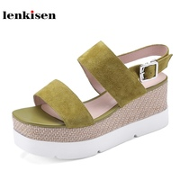 Lenkisen 2018 Hot Sale Kid Suede Buckle Straps Solid Peep Toe Thick Bottom Summer Shoes Simple