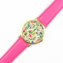 hot amazing popular practical Casual Fashion Women's Animal Design Leather Floral Printed Analog Quartz Wrist Watch //