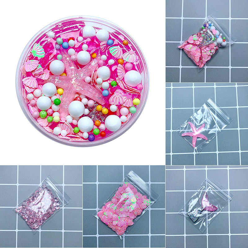 Cute DIY slime Kit Accessories Mermaid Tail shell Fluffy Polymer Slime Box Toys For Children Charms Lizun Modeling Clay for kids