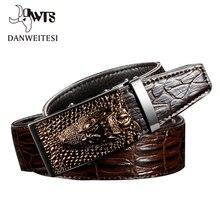 [DWTS] 2016 Designer Belts Men High Quality Mens Belts Luxury Crocodile Grain Belts Automatic Buckle Business Men Belt 90 125cm