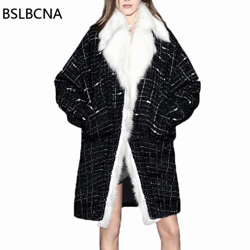 Свободные плюс Размеры 2018 модные зимние Для женщин Шерстяное пальто женские кролика волосы толстые черный, белый цвет плед Европейский сре