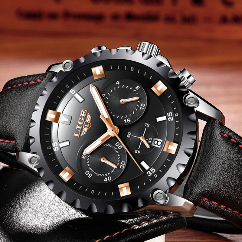 LIGE Watch Men Fashion Sport Quartz Clock Mens Watches Top Brand Luxury Leather Waterproof Watch Relogio Masculino Chronograph