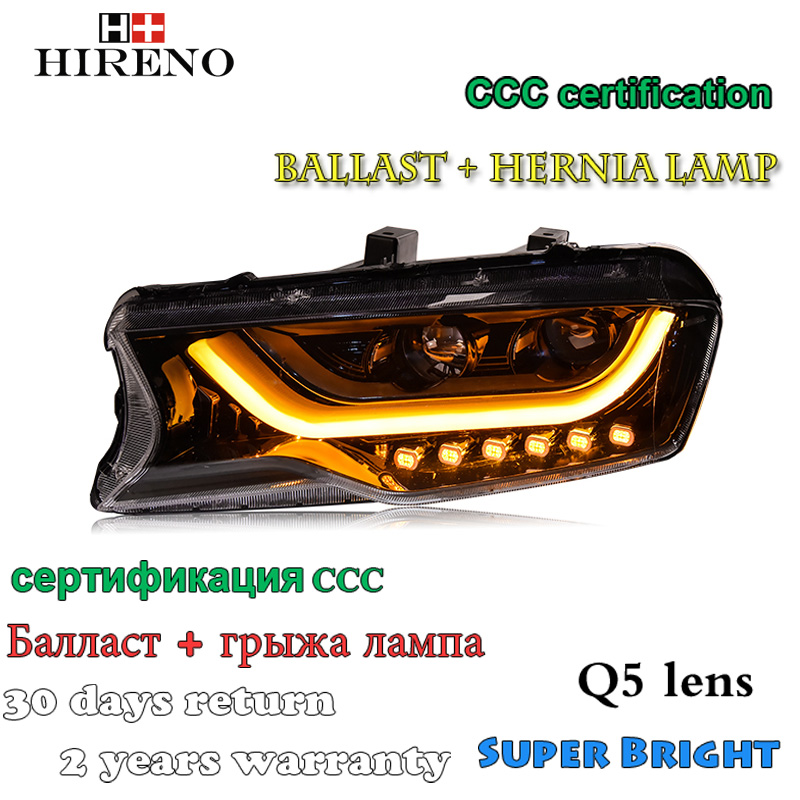 Hireno Car styling Headlamp for Haval H6 Coupe 2015-2016 Headlight Assembly LED DRL Angel Lens Double Beam HID Xenon 2pcs hireno car styling headlamp for 2003 2007 honda accord headlight assembly led drl angel lens double beam hid xenon 2pcs