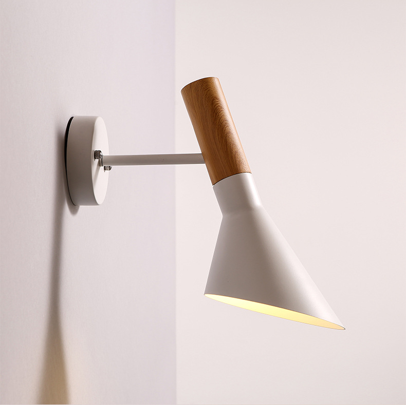 Swing Head Wall light Creative Wall Lamp Wooden Wall Sconce E27 Bedroom Lighting Black White Bedside