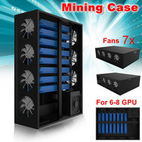 New Arrival Mining Frame Rig Graphics Case With 7Fans For 6 8GPU Aluminum Stackable Directed Plug