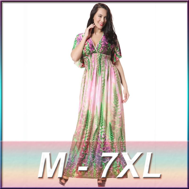 2016 New Floral Lavender Print Summer Maxi Dresses Women Beach Bohemia Short Sleeve V-Neck Elegant Long Dress Plus Size M-7XL