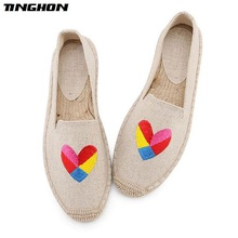 TINGHON Fashion Women Ladies Espadrille Shoes Canvas Embroidery Heart Duck Rome Ankle Strap Hemps Flats Shoes tinghon fashion women ladies espadrille shoes canvas embroidered dog rome ankle strap hemps flats shoes