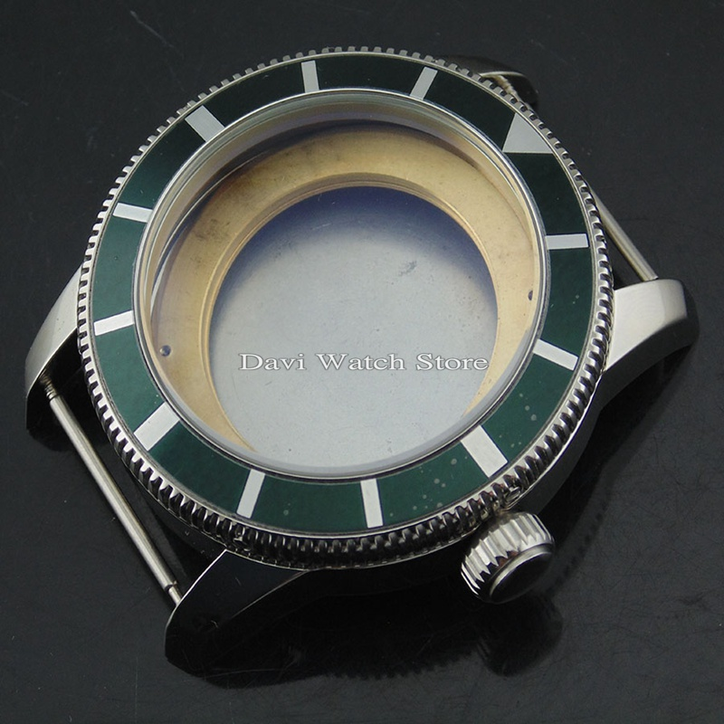46mm silver case green bezel Steel Watch Case fit ETA 2836,DG2813/3804,Miyota 8205/8215 movement