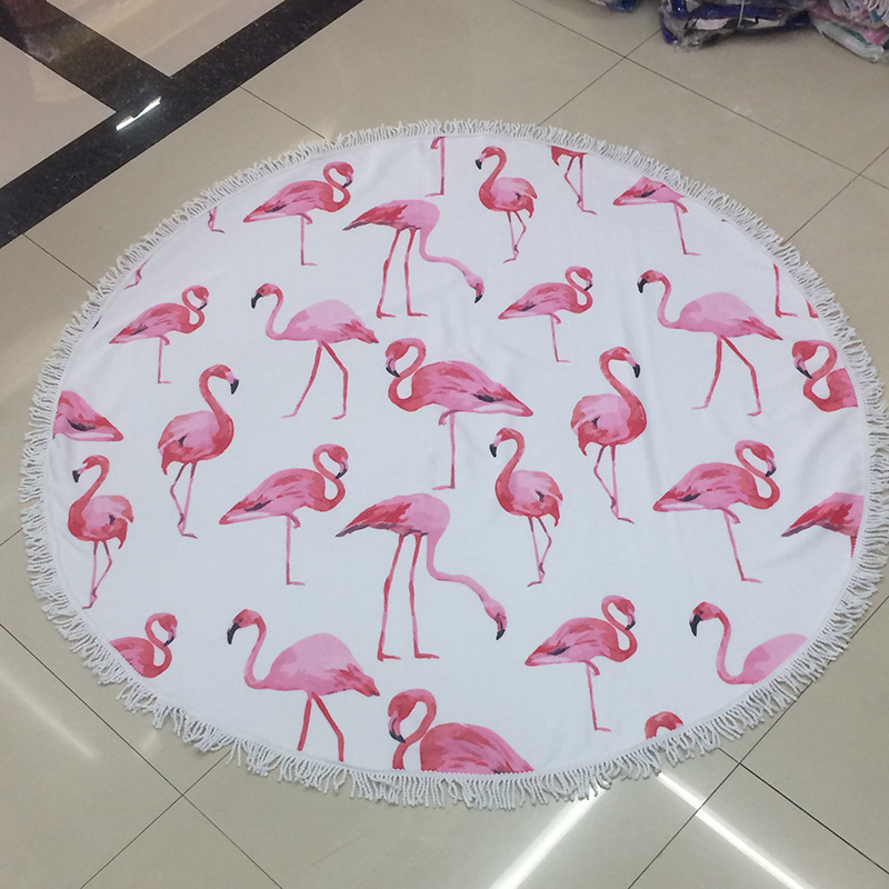 600G Watermelon Flamingo Printed Round Beach Towel 150CM Large Thick Microfiber Adults Bath Shower Towel Shawl Mat With Tassels