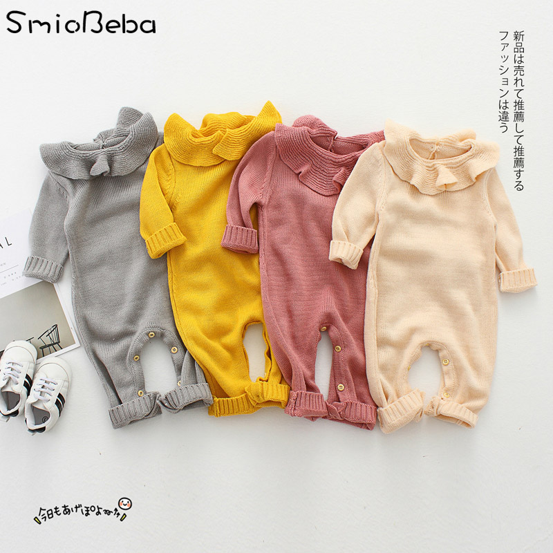 INS Baby   Rompers   In Baby Girls's   Rompers   Winter Clothing for Mother&Kids Jumpsuit Knitted Newborn Leaf Neck Kids Baby   Rompers