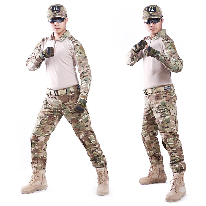 ФОТО Tactical Uniform Hunting Combat Shirt and Cargo With Pants Knee Pads Camouflage Bdu Army Military Men Clothing Set ACU FG BLACK