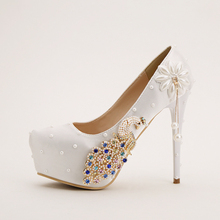 Sweet white pearl and pecock bridal shoes high heel waterproof platform shoes font b women s