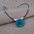 Spring  Summer Necklace Matt Resin beads with leather necklace
