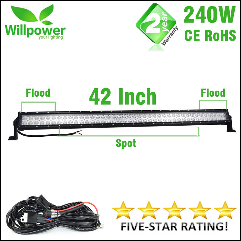 Duty Free Fast shipping combo beam 42 inch 240w auto driving car offroad led light bar work light led bar wiring harness 12v