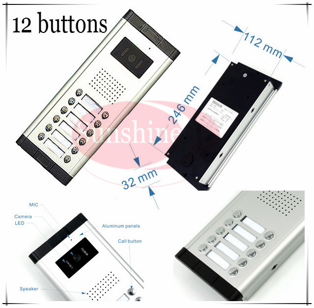Outdoor Camera CCD Lens Outdoor Unit Video Door Phones Intercom Systems With 12 Buttons For 12 Office/villas/apartments/Hotles