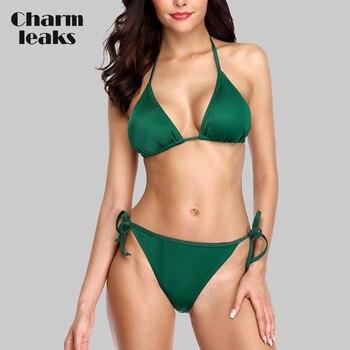 Charmleaks Women Bikini Low Waist Swimsuit Solid Color Halter Swimwear Bandage Bikini Set Sexy Bathing Suit stylish solid color beads embellished halter bikini set for women