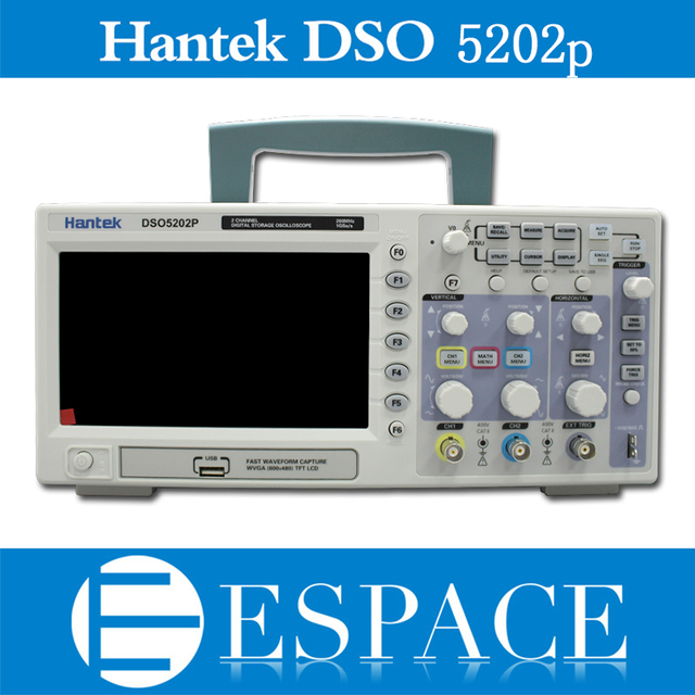 Osciloscopio Hantek DSO5202P Digital Oscilloscope USB 200MHz bandwidth 2 Channels 1GS/s PC Storage LCD Record length up to 24K