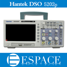 Osciloscopio hantek dso5202p osciloscópio digital usb 200mhz largura de banda 2 canais 1gs/s pc armazenamento lcd comprimento de registro até 24k