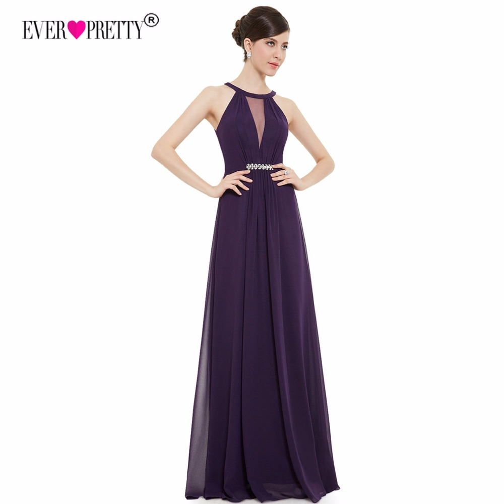 Ever Pretty Purple Evening Dresses Long Cheap A Line Sexy Beading See Through Rhinestone Black Formal Party Gowns 2018 EP09995