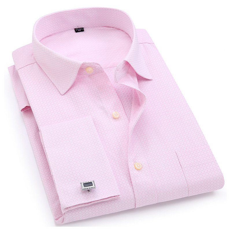 Men French Cufflinks Shirt 2019 New Pink Jacquard Fabric Men's Long Sleeve Casual Male Shirts French Cuff Dress Shirts 4XL