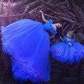Azul Royal Cinderela Bola Vestidos Mãe dos Vestidos de Noiva Formal Vestido de Noite Vestido de Organza Lace Up Custom Made
