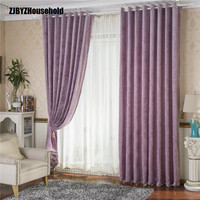 Purple Green Printing Half A Window Shade Printing Chenille Curtains for Living Dining Room Bedroom