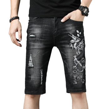 MORUANCLE Men Summer Ripped Short Jeans With Dragon Embroidery Fashion Distressed Embroidered Denim Shorts For Male With Holes 1