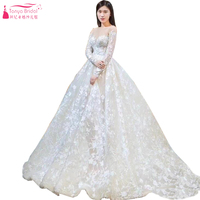 Long Sleeve O Neck Sexy A Line Wedding Dresses Backless Amazing Lace Bridal Gowns Robe De