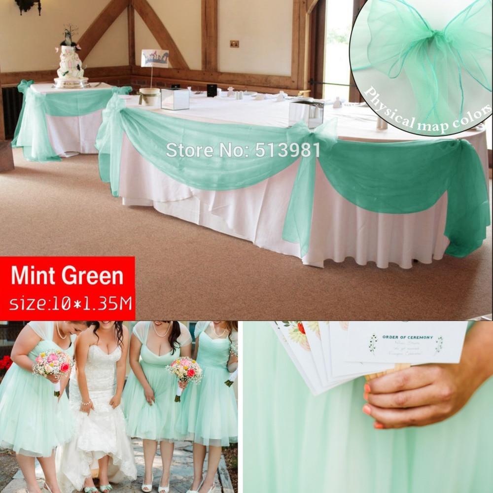 Promotion menthe vert 10 M * 1.35 M Sheer Organza Butin Tissu accueil décoration de mariage Organza Tissu table rideau, HQ livraison gratuite