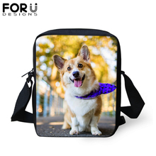 FORUDESIGNS Welsh Corgi Pembroke Dog Messenger Bag For Woman Kids Small Casual Crossbody Bags Boys Girls Travel Shoulder Tote