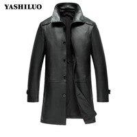 Spring Fashion Turn Down Collar Mens Sheep Skin 100 Real Leather Jacket Jaqueta De Couro Masculino