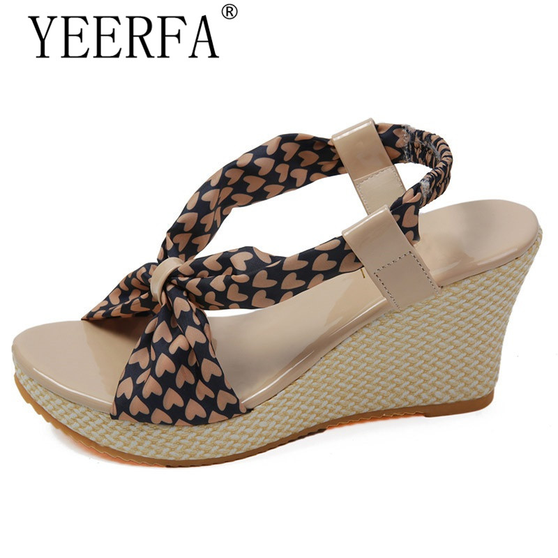 YEERFA 2017 Bohemia Gladiator Sandals Summer Beach Wedges 2017 New Platform Shoes Woman Casual Creepers Slip On High Heels choudory bohemia women genuine leather summer sandals casual platform wedge shoes woman fringed gladiator sandal creepers wedges