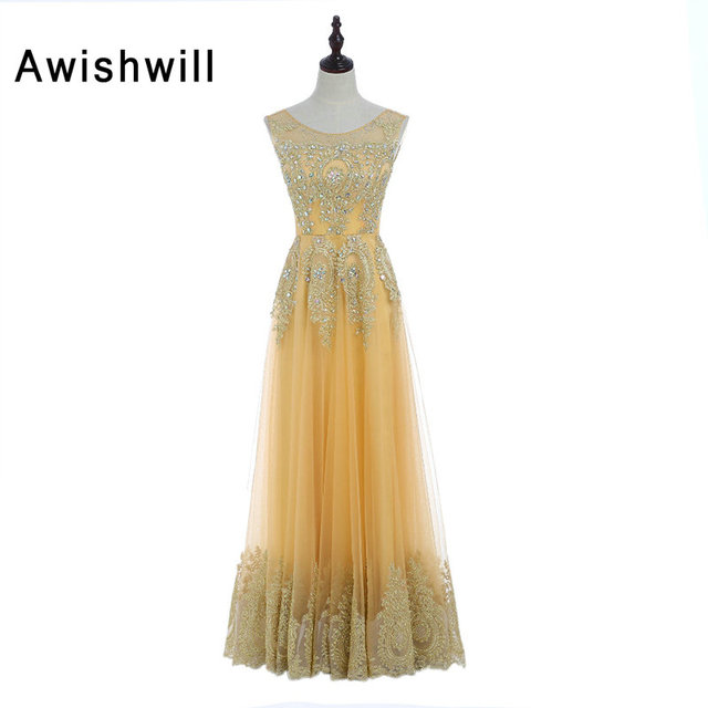 New Arrival Gold Prom Dresses 2018 Floor Length With Gold Lace ...