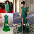 Frete grátis! Grammy Awards verde uma linha lateral de fenda allover lantejoulas cap manga celebrity dress vestido de noite foto real CD022