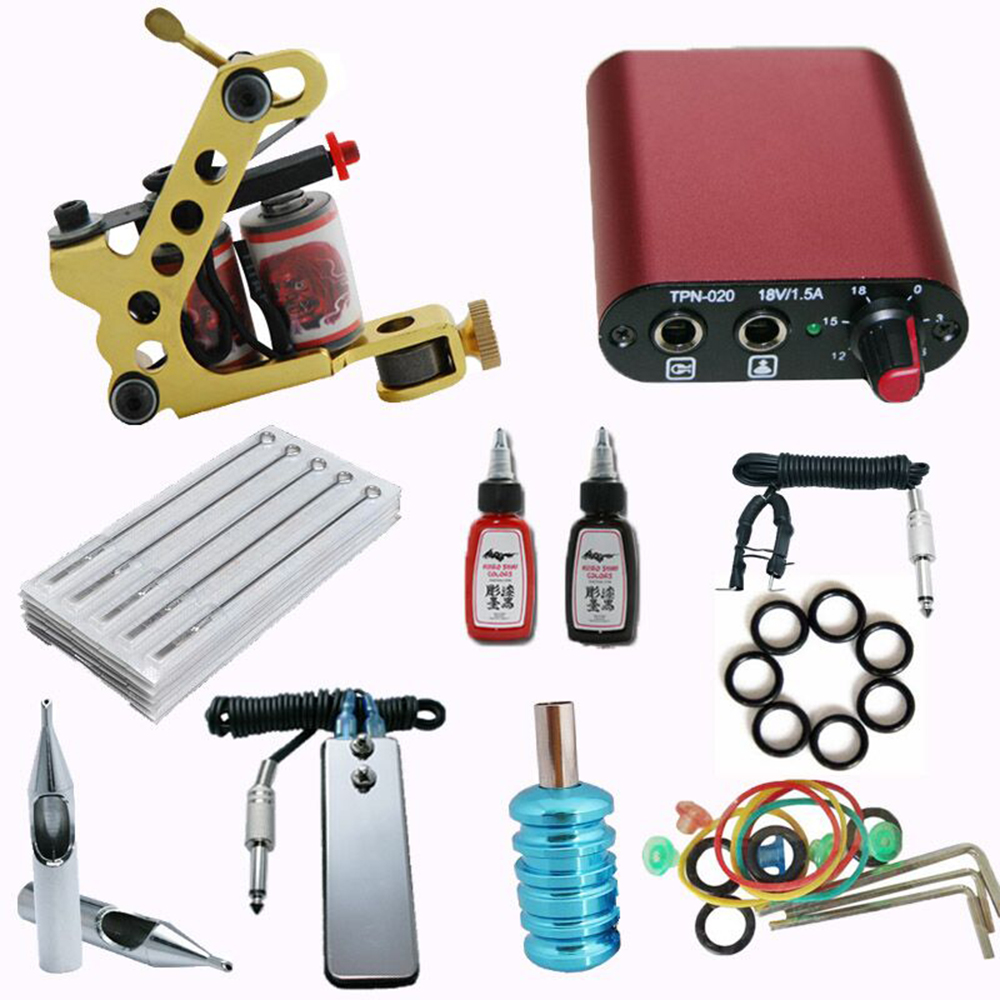 Tattoo Machine Set Complete Tattoo Kit with Tattoo Gun Power Supply and 2 Inks Shader for Beginner for Cosmetics Body Art beginner tattoo kit 2 machine gun with lcd tattoo power inks supply free shippiing