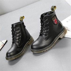 Image 5 - Girls Boys Ankle Boots Spring 2020 Genuine Leather Military Booties Black Non slip British Kids  Boots Zipper Unisex Shoe