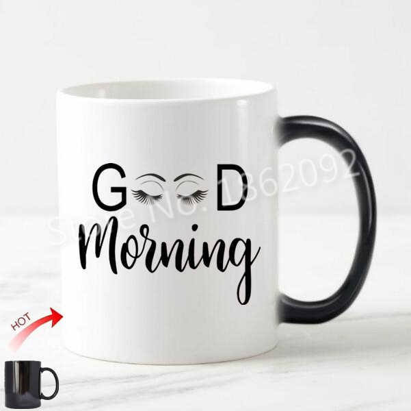 Novelty Funny Good Morning Eyelash Coffee Mug Tea Cup Chic Decor Magic Cups Lady Coworker