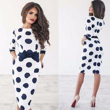 Party Dresses Women Bodycon Polka Dot Half Sleeve Casual Elegant Dress Plus Size Vestidos LJ9219M