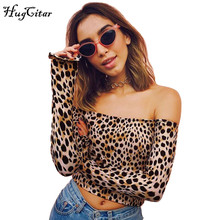 Hugcitar Leopard Printed long sleeve off shoulder t-shirt 2017 autumn women sexy top flare sleeve female crop tops