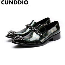 CUNDDIO Men s casual style Genuine leather British Fashion Pointed Steel-toed Purple The buckle Men's leather shoes Size 38-44