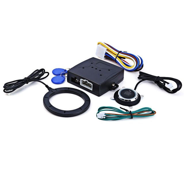 Universal Car Alarm System Driving Security Push Button Engine Start RFID Lock Ignition Starter with Remote Keyless Entry System