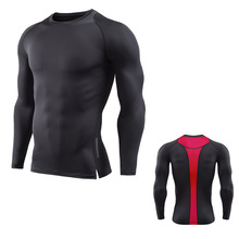 2017Mens Fitness Long Sleeves Rashguard T Shirt Men Bodybuilding Skin Tight Thermal Compression Shirts MMA Crossfit Workout Top