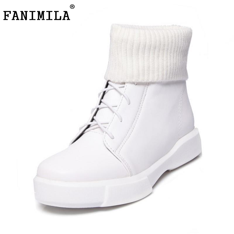 FANIMILA Size 34-43 Women Thick Fur Boots Cold Winter Shoes Flats Boots Corss Strap Warm Boots Mid Calf Botas Women Footwear odetina 2017 new faux suede mid calf boots with front zipper chunky heel elastic boots thick plush winter warm shoes big size 43